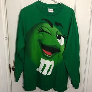 Green M & M Shirt Size L Winking M&M Long Sleeve